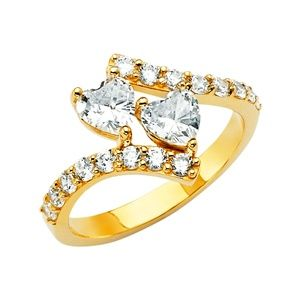 14K Yellow Gold Heart CZ Engagement Ring